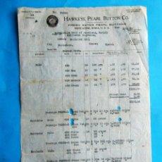 Facturas antiguas: FACTURA HECHA A UN INDUSTRIAL DE BARCELONA POR HAWKEYE PEARL BUTTON CO. 1920. Lote 210226985