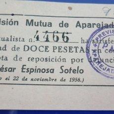 Facturas antiguas: CUOTA PREVISION MUTUA DE APAREJADORES 12 PESETAS 1958. Lote 210249070
