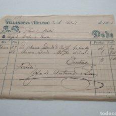 Facturas antiguas: VILLANUEVA Y GELTRÚ FACTURA 1903. Lote 210268948