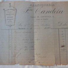 Facturas antiguas: ABANIQUERÍA FRANCISCO CANDELA. VALENCIA 1882. Lote 210269330