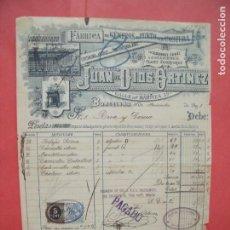 Facturas antiguas: JUAN DE DIOS ORTINEZ.-FABRICA GENEROS PUNTO.-FACTURA.-RIVA Y GARCIA.-FOTO FABRICA.-BARCELONA.-1898.. Lote 210332157