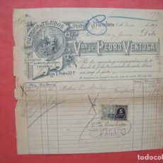 Facturas antiguas: VIUDA DE PEDRO VENTOSA.-FABRICA DE TEJIDOS.-FACTURA.-RIVA Y GARCIA.-BARCELONA.-AÑO 1899.. Lote 210332526