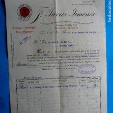 Facturas antiguas: FACTURA F. JAVIER JIMÉNEZ. BODEGAS LA ROSA Y FINO CONQUÍN. PUERTO DE SANTA MARÍA, CÁDIZ, 1919.. Lote 210598916