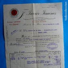 Facturas antiguas: FACTURA F. JAVIER JIMÉNEZ. BODEGAS LA ROSA Y FINO CONQUÍN. PUERTO DE SANTA MARÍA, CÁDIZ, 1919.. Lote 210599077