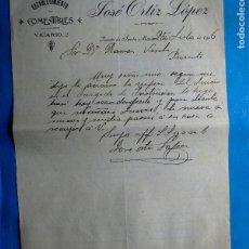 Facturas antiguas: FACTURA ESTABLECIMIENTO DE COMESTIBLES JOSÉ ORTIZ LÓPEZ. PUERTO DE SANTA MARÍA, CÁDIZ, 1906.. Lote 210599541