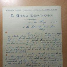 Facturas antiguas: ANTIGUA FACTURA GRAU ESPINOSA ALMACEN DE CAMISERIA PAQUETERIA PERFUMERIA GENEROS PUNTO MURCIA 1935. Lote 210623238