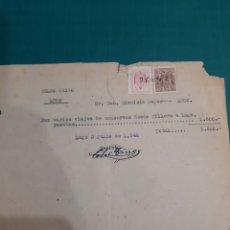 Facturas antiguas: CELSO TRIGO FACTURA VIAJES CONSERVAS DESDE CILLERO A LUGO 1942. Lote 210675501