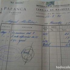 Facturas antiguas: SAGUNTO. VALENCIA. FABRICA DE BALDOSAS PALANCA. FACTURA 1956. Lote 212225861