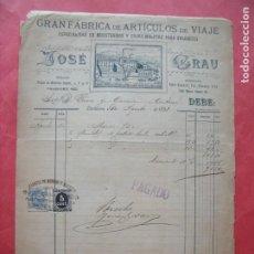 Facturas antiguas: JOSE GRAU.-GRAN FABRICA DE ARTICULOS DE VIAJE.-MALETAS.-FACTURA.-RIVA Y GARCIA.-BARCELONA.-AÑO 1898.. Lote 212529707