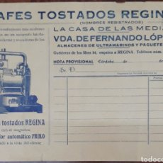 Facturas antiguas: RECIBO CAFÉS TOSTADOS REGINA CORDOBA 1930. Lote 212966242