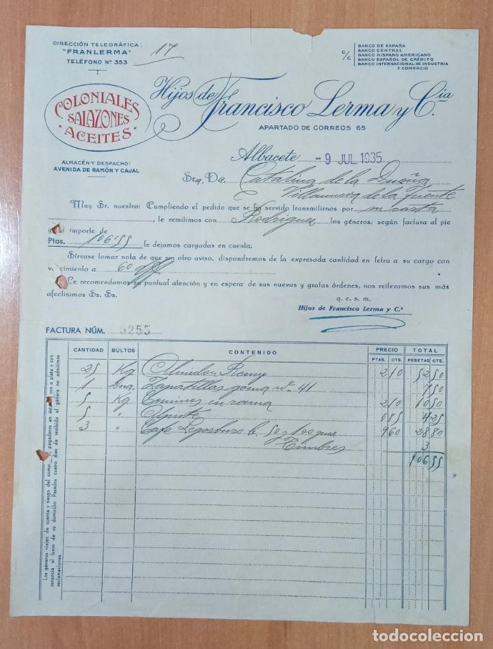 FACTURA HIJOS DE FRANCISCO LERMA. ALBACETE 1935. COLONIALES SALAZONES ACEITES (Coleccionismo - Documentos - Facturas Antiguas)