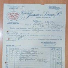 Facturas antiguas: FACTURA HIJOS DE FRANCISCO LERMA. ALBACETE 1935. COLONIALES SALAZONES ACEITES. Lote 213249403