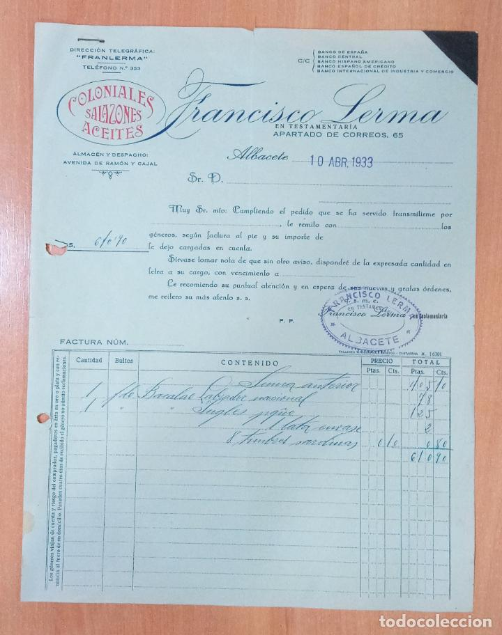 FACTURA HIJOS DE FRANCISCO LERMA. ALBACETE 1933. COLONIALES SALAZONES ACEITES (Coleccionismo - Documentos - Facturas Antiguas)
