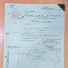 Facturas antiguas: FACTURA HIJOS DE FRANCISCO LERMA. ALBACETE 1933. COLONIALES SALAZONES ACEITES. Lote 213249412
