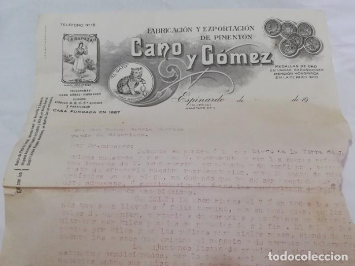 FACTURA DE CANO Y GOMEZ, EL GATO, ESPINARDO MURCIA, FABRICACION Y EXPORTACION DE PIMENTON, TAMAÑO FO (Coleccionismo - Documentos - Facturas Antiguas)
