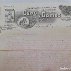 Facturas antiguas: FACTURA DE CANO Y GOMEZ, EL GATO, ESPINARDO MURCIA, FABRICACION Y EXPORTACION DE PIMENTON, TAMAÑO FO. Lote 213816678