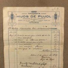 Facturas antiguas: TIPOGRAFÍA HIJOS DE PUJOL (VITORIA). FACTURA DE 1919 A NOMBRE DEL PARTIDO NACIONALISTA VASCO. Lote 216801811