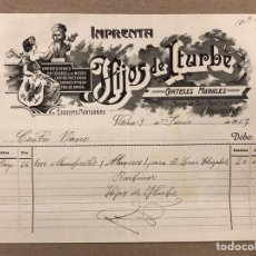 Facturas antiguas: IMPRENTA HIJOS DE ITURBE (VITORIA). FACTURA DE 1919 A NOMBRE DEL CENTRO VASCO ELECTORAL. Lote 216803633