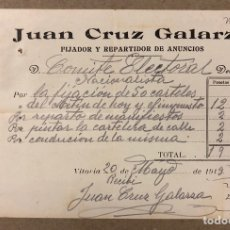 Facturas antiguas: JUAN CRUZ GALARZA (VITORIA). FACTURA MANUSCRITA DE 1919 A NOMBRE DEL COMITÉ ELECTORAL NACIONALISTA. Lote 216804521
