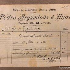 Facturas antiguas: PEDRO ARGANDOÑA E HIJOS (VITORIA). FACTURA MANUSCRITA 1919 A CUENTA CENTRO ELECTORAL VASCO. Lote 216806107