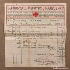 Facturas antiguas: IMPRENTA DE FUERTES Y MARQUINEZ (VITORIA). FACTURA DE 1919 DEL COMITÉ ELECTORAL NACIONALISTA. Lote 216807490