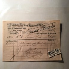 Faturas antigas: BARCELONA - ANTIGUA FACTURA 1902 - FABRICA DE ASERRAR MADERS FINAS - JAIME BUXEDA C. DIPUTACION Nº. Lote 217246463