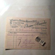 Faturas antigas: BARCELONA- ANTIGUA FACTURA 1908 - FABRICA DE ASERRAR MADERAS FINAS DE JAIME BUXEDA C. DIPUTACION Nº. Lote 217318887
