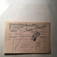 Faturas antigas: BARCELONA- ANTIGUA FACTURA 1908 - FABRICA DE ASERRAR MADERAS FINAS DE JAIME BUXEDA C. DIPUTACION Nº. Lote 217318985