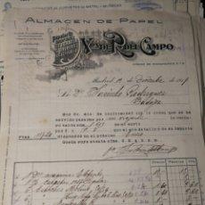 Facturas antiguas: FACTURA. R. DEL CAMPO. MADRID 1917. Lote 217482366