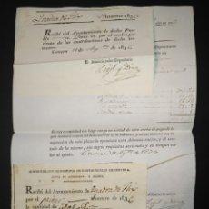 Facturas antiguas: CARTA DE PAGO Y RECIBOS AGUARDIENTE Y LICORES QUADRA FLIX SIGLO XIX PABLO VIGIL DIAZ CON 3 FIRMAS. Lote 218128963