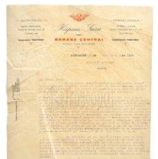 Facturas antiguas: FACTURA CARTA COMERCIAL GARAGE CENTRAL HISPANO SUIZA AUTOMÓVILES. SANTANDER 1930. Lote 218198005