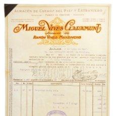 Factures anciennes: FACTURA ALMACÉN DE CUEROS Y CURTIDOS MIGUEL VIVES CLARAMUNT. IGUALADA BARCELONA 1930. Lote 218521832