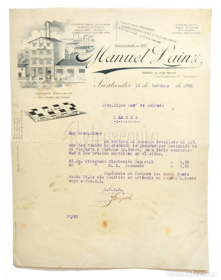 FACTURA PAPEL DE FUMAR JEAN, MANUEL LAINZ. SANTANDER 1930 (Coleccionismo - Documentos - Facturas Antiguas)