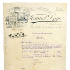 Faturas antigas: FACTURA PAPEL DE FUMAR JEAN, MANUEL LAINZ. SANTANDER 1930. Lote 218534065