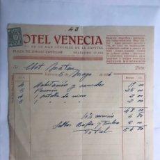 Facturas antiguas: VALENCIA. FACTURA HOTEL VENECIA, PLAZA EMILIO CASTELAR (MAYO DE 1936). Lote 218745611