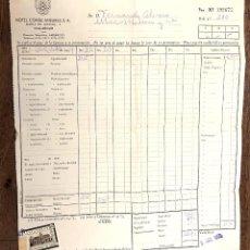 Facturas antiguas: FACTURA HOTEL CONDE ANSUREZ. VALLADOLID. AÑO 1959. CON TIMBRE DE EPOCA. Lote 218784556