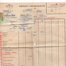 Facturas antiguas: FACTURA HOTELES Y BALNEARIO DE LA TOJA. FINISTERRE. LA CORUÑA. AÑO 1959. SE ACOMPAÑA DE RECIBO. Lote 218789216