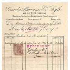 Factures anciennes: FACTURA ANTIGUA- GRANDES ALMACENES EL SIGLO. 8 MAYO. BARCELONA- 1913 (CON TIMBRE). Lote 219103852