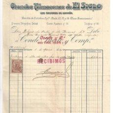 Factures anciennes: FACTURA ANTIGUA- GRANDES ALMACENES EL SIGLO. 1 DE MARZO. BARCELONA- 1913 (CON TIMBRE). Lote 219297785