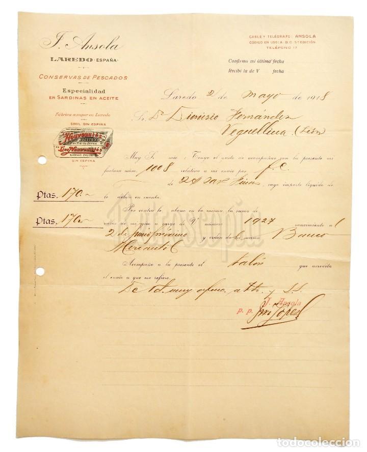 FACTURA CONSERVAS DE PESCADO SARDINAS F. ANSOLA. LAREDO SANTANDER 1918 (Coleccionismo - Documentos - Facturas Antiguas)