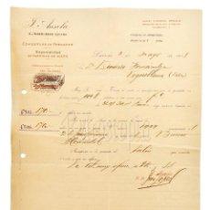 Facturas antiguas: FACTURA CONSERVAS DE PESCADO SARDINAS F. ANSOLA. LAREDO SANTANDER 1918. Lote 219708648