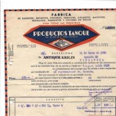 Facturas antiguas: FACTURA PRODUCTOS TANQUE / BARCELONA 1948. Lote 219740092