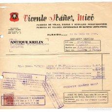 Facturas antiguas: FABRICA DE VELAS , BUJIAS .- VICENTE IBAÑEZ MICÓ .- ALBAIDA / VALENCIA 1948 / AVISO DE GIRO. Lote 219864390