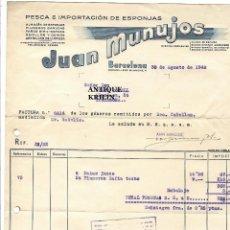 Facturas antiguas: PESCA E IMPORTACION DE ESPONJAS / JUAN MUNUJOS / BARCELONA 1948. Lote 219865681