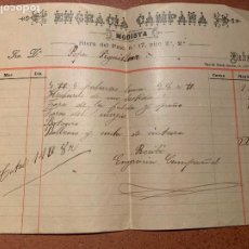 Facturas antiguas: CURIOSA FACTURA MODISTA, BARCELONA S.XIX.. PROCEDE DE UNA TABERNA DE LA CALLE ESCUDILLERS. Lote 219901377