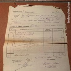 Facturas antiguas: DEPOSITO OBLIGACIONES FERROCARRILES DEL NORTE. PROCEDE DE UNA TABERNA DE LA CALLE ESCUDILLERS. Lote 219901642