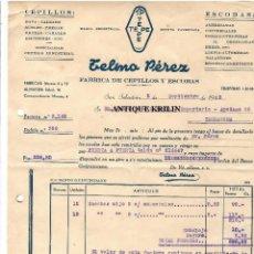 Facturas antiguas: TELMO PEREZ , FABRICA DE CEPILLOS Y ESCOBAS TEPE .- SAN SEBASTIAN 1948. Lote 219915770