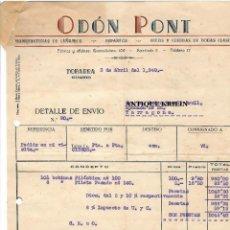 Facturas antiguas: MANUFACTURAS DE CAÑAMO , ESPARTOS , HILOS Y CUERDA .- ODON PONT .- TOBARRA / ALBACETE 1948. Lote 219916715