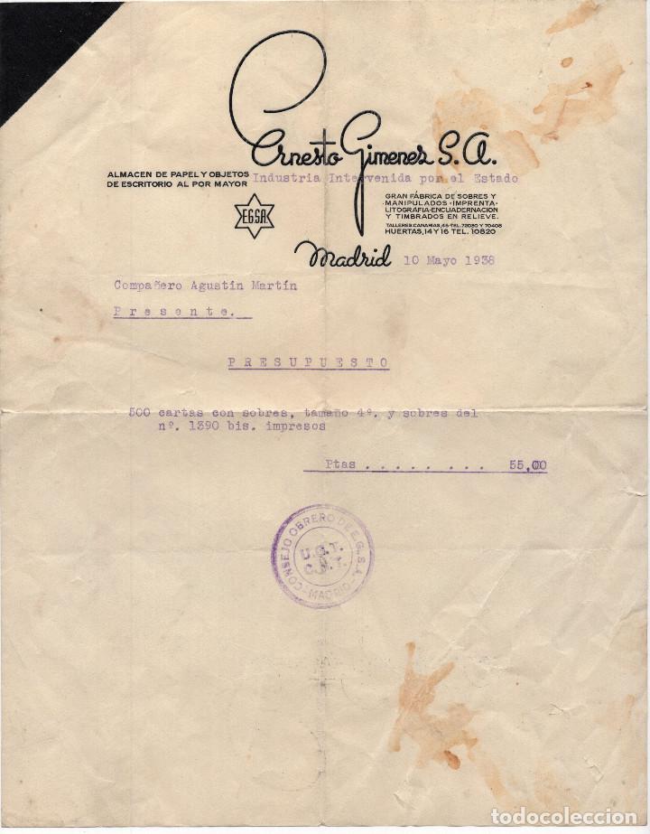 FACTURA ERNESTO GIMENEZ S.A. INTERNENIDA POR EL ESTADO. SELLO UGT. CNT. REPÚBLICA GUERRA CIVIL 1938. (Coleccionismo - Documentos - Facturas Antiguas)