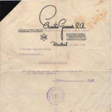 Facturas antiguas: FACTURA ERNESTO GIMENEZ S.A. INTERNENIDA POR EL ESTADO. SELLO UGT. CNT. REPÚBLICA GUERRA CIVIL 1938.. Lote 219979590